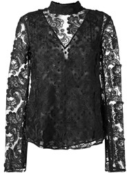 Perseverance Paisley Embroidery Blouse Black