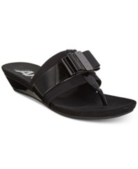 Anne Klein Sport Imperial Thong Wedge Sandals Created For Macy's Black