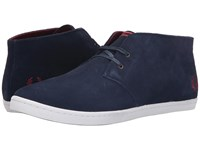 Fred Perry Byron Mid Suede Carbon Blue Maroon Men's Lace Up Casual Shoes