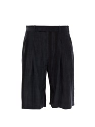 Ann Demeulemeester Wide Leg Washed Satin Shorts Black