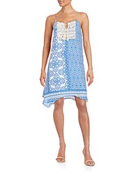 Collective Concepts Mixed Print Tent Dress Blue