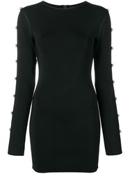 David Koma Oversized Crystal Embellishments Dress Black