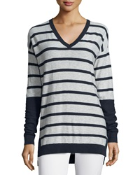 Vince Long Sleeve Striped V Neck Shirt H Cloud Coastal