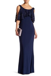 Marina Sequin Lace Popover Long Dress Blue