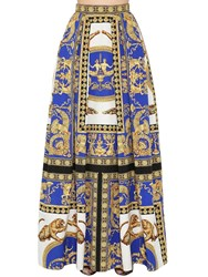 Versace Pleated Printed Cotton And Silk Maxi Skirt Blue