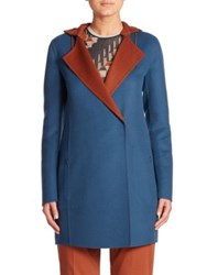 Akris James Reversible Hooded Cashmere Coat Sea Biscuit Cigar