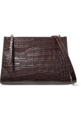 Nanushka Izabel Croc Effect Leather Shoulder Bag Brown