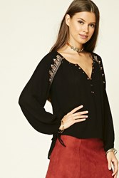 Forever 21 Embroidered Sequin Top Black Rose Gold
