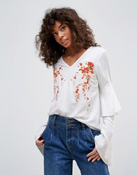 Neon Rose Embroidered Romantic Sleeve Blouse White