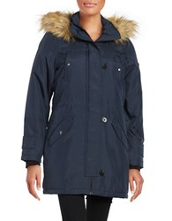 Vero Moda Faux Fur Trimmed Hooded Mid Length Parka Total Eclipse