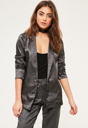 Missguided Grey Animal Pattern Jacquard Blazer
