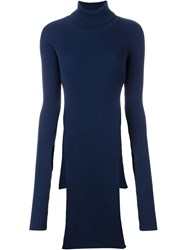 Jacquemus Ribbed Long Slit Turtleneck Jumper Blue