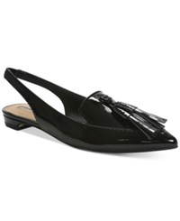 Tahari Paulina Slingback Pointed Toe Smoking Flats Women's Shoes Black Patent