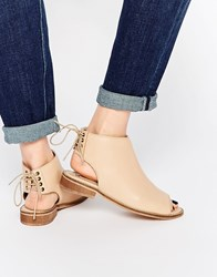 Asos Annabelle Lace Up Leather Ankle Boots Nude Beige