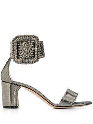 Casadei Metallic Buckle Sandals Silver