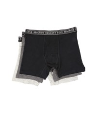 Kenneth Cole Reaction 3 Pack Boxer Brief Cotton Stretch Black Dark Grey Heather Light Grey Heather Men's Underwear
