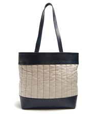 Hecho Barragan Medium Linen And Leather Tote Navy
