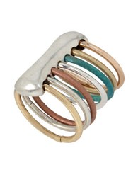 Robert Lee Morris It's Ringing Sculptural Mixed Multi Tone Row Ring Patina