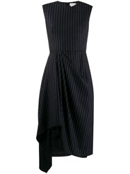 Alexander Mcqueen Asymmetric Striped Dress Blue