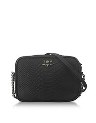 Zadig And Voltaire Black Embossed Leather Foldable Xs Boxy Savage Crossbody Bag