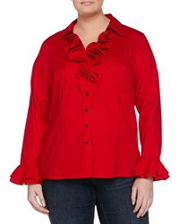 Go Silk Poplin Blouse W Ruffle Trim Crimson Tide