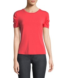 Elie Tahari Kira Ruched Sleeve Knit Top Parrot Red