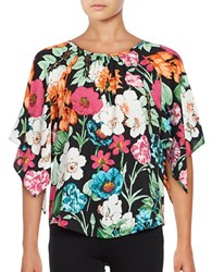 Context Floral Boatneck Blouse Black