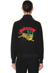 Kenzo Embroidered Zip Up Crepe Track Jacket Black Yellow