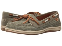 Sperry Barrelfish Heavy Linen Olive Women's Lace Up Casual Shoes
