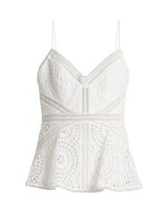 Zimmermann Meridian Broderie Anglaise Cotton Cami Top White