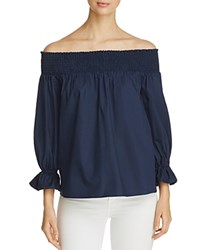 Soloiste Bow Back Off The Shoulder Blouse Navy