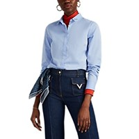 Maison Labiche Claudine Embroidered Cotton Blouse Blue