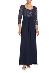 Kay Unger Sequined Chiffon Gown Navy