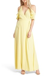 Privacy Please Women's Acme Off The Shoulder Wrap Maxi Dress Yellow