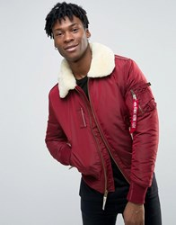 Alpha Industries Bomber Jacket With Shearling Collar In Slim Fit Burgundy Re1 Red 1