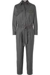 Brunello Cucinelli Bead Embellished Belted Wool Jumpsuit Charcoal