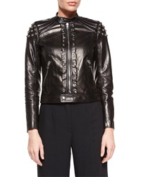 Red Valentino Grommet Pieced Leather Jacket