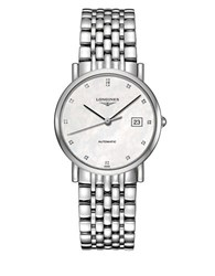 Longines Diamond Index And Mother Of Pearl Dial Chronograph Silver