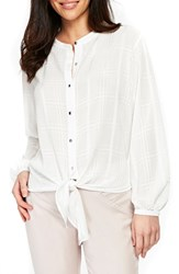 Wallis Tie Front Textured Blouse Ivory