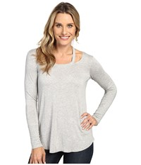 Allen Allen Long Sleeve Cut Shoulder Heather Grey Women's Clothing Gray