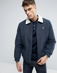 Lyle And Scott Borg Lined Bomber Eagle Logo In Navy Navy