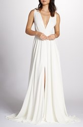 Joanna August Nico Plunging A Line Gown White