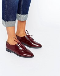 Daisy Street Lace Up Burgundy Flat Shoes Burgundy Red