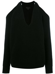 Nili Lotan Cut Out Knitted Top Black