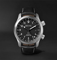 Bremont Mbiii Bzs Automatic 43Mm Stainless Steel And Leather Watch Black