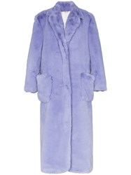 Natasha Zinko Oversized Long Faux Fur Coat Purple