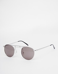 Asos Square Nose Bridge Metal Round Sunglasses Silver