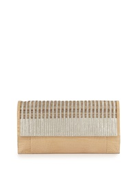 Nancy Gonzalez Crocodile And Woven Horse Hair Clutch Bag Neutral