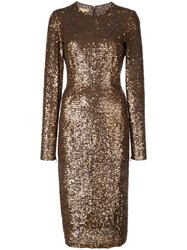 Michael Kors Sequinned Midi Dress Brown