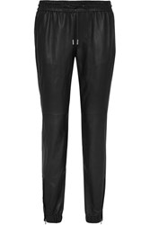 Saint Laurent Tapered Leather Pants Black